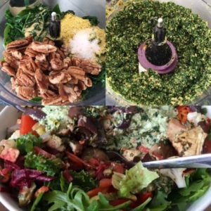 7 Day Easy Vegan Plan Lunch: 20+ Veg Salad with Protein Pimped Hummus and Pesto