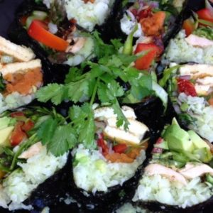 7 Day Easy Vegan Plan Lunch: cauli sushi